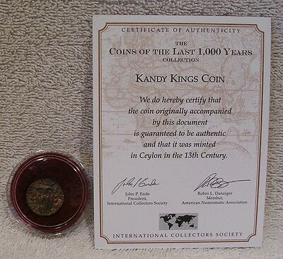 Kandy Kings Coin - 13th Century Bronze - COA on Information Card - India
