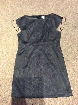 Gorgeous Black Oasis Satin And Lace Shift Dress Size 16