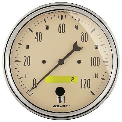 "AutoMeter 1889 Antique Beige Electric Programmable Speedometer 5"" 120 MPH"