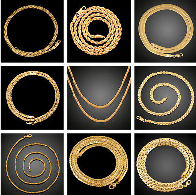 """16""""-24"""" Women Men 18k Gold Plated Snake Rope Chain Necklace Twisted Wedding Gift"""