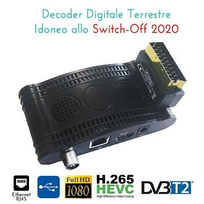 Decoder Mini Digitale Terrestre Presa Scart Dvb-T2 180 Usb Hdmi Full Hd Tv Film