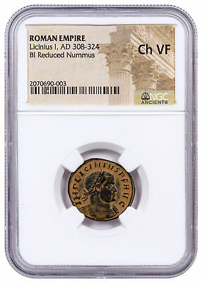 Roman Empire, Billon Reduced Nummus Licinius I NGC Ch. VF Sand Patina SKU50211