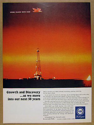 1964 Pure Oil Co Gomez Well Pecos County TX natural gas field vintage print Ad