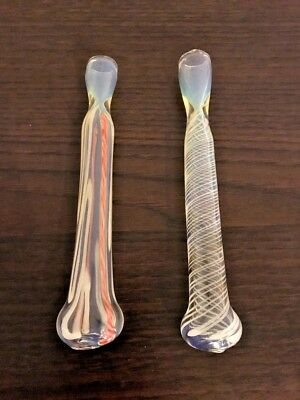 """2 x Tobacco Pipe Smoking Cigarette Glass  Holder Gift Color Changing 5,5"""""""