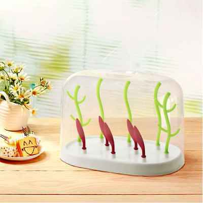 Baby Bottle Drying Rack With DustProof Cover Tree Shape Clean Dryer Drainer Rack