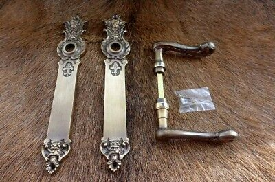 Solid old brass door handle with decorative covers project replacement new 11Fa