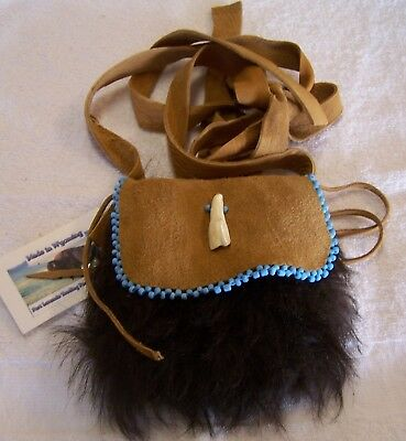 Hand Made Small Beaded Buffalo Fur Pouch Rendezvous Black Powder Mountain Man 1