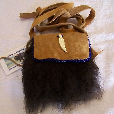 Hand Made Small Beaded Buffalo Fur Pouch Rendezvous Black Powder Mountain Man 2