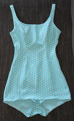 Vintage 50s 60s Blue White Polka Dot Bathing Suit Swimsuit Pin Up Rockabilly S/M