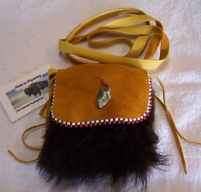 Hand Made Small Beaded Buffalo Fur Pouch Rendezvous Black Powder Mountain Man 4
