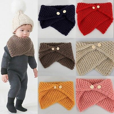 Kids Warm Winter Hood Scarf Cute Baby Toddler Girls Boys Knit Knitted Scarves