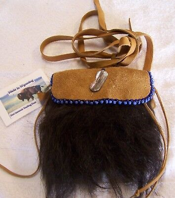 Hand Made Small Beaded Buffalo Fur Pouch Rendezvous Black Powder Mountain Man 6