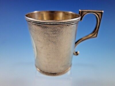 Tifft & Whiting Sterling Silver Baby Child's Cup Mug Engine Turned B.C. 1862
