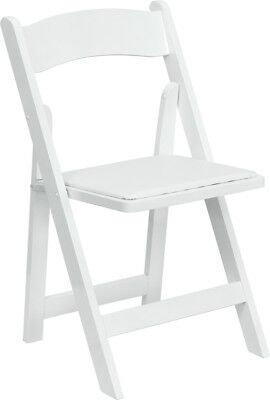 Lot of 30 White Wood Folding Chairs Vinyl Padded Seat