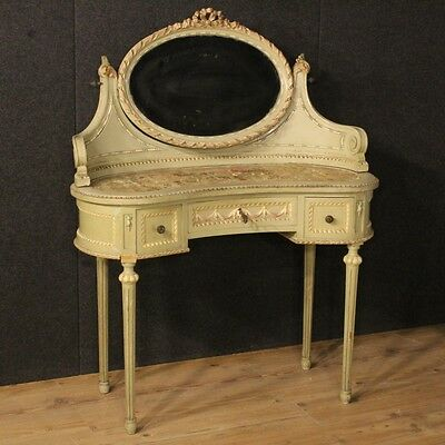 Toilet lacquered furniture table italian antique style louis XVI wood mirror