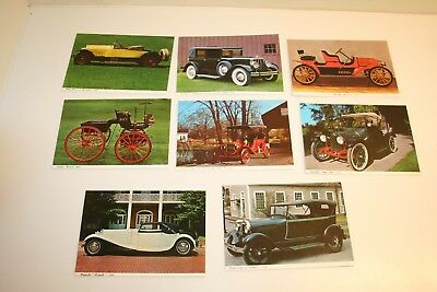 Set of 8 Postcards of Antique Cars From The Henry Ford Museum New From 1960s