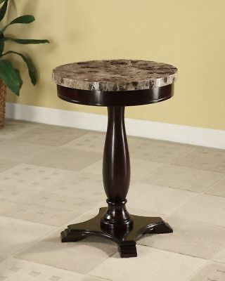 Round Pedestal Table Faux Marble Top Accent Side End Table Espresso Brown NEW