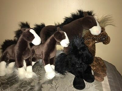 Lot of 5 Plush Horses Clydesdale, Ganz, Douglas, Excellent Clean