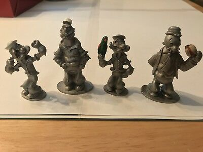 Spoontiques KFS 1980 Pewter Popeye Set Of 4 Collectibles