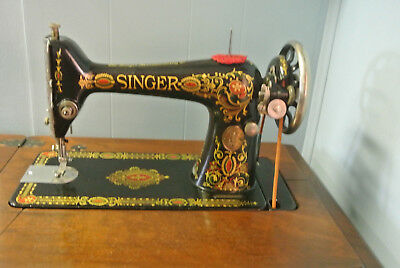 Vintage Singer 66 Red Eye Treadle Sewing Machine in Parlor Cabinet with Extras