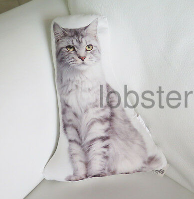 BEAUTIFUL KITTY CAT PILLOW Gray White Photograph on fabric 14 inch zipper cover