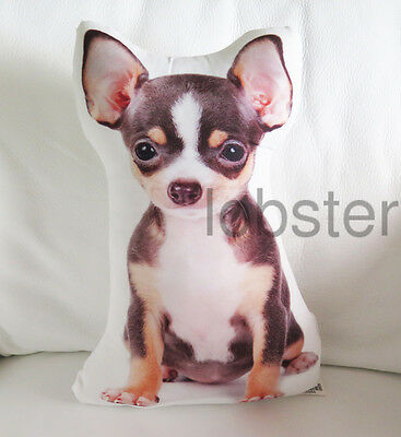 """TRI COLOR SMOOTH CHIHUAHUA DOG PILLOW Photograph on fabric 14"""" w zipper cover"""