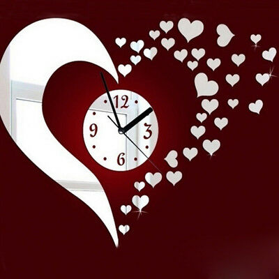 3D Large Wall Clock Mirror Sticker Watch Sticker Home Decor Unique Gift DIY Home