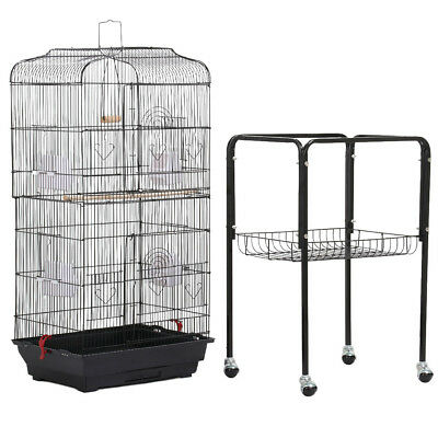 Large Tall Cockatiel Parakeet Finch Canary Cage Bird Pet Cage With Black Stand
