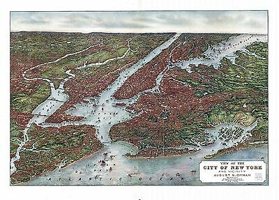 ny129 Antique old map NEW YORK CITY vicinity NYC panoramic birds ey view c1907
