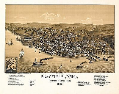 BAYFIELD WISCONSIN 1886 old panoramic map genealogy family history wi6