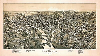 NEW CASTLE PENNSYLVANIA 1896 old map genealogy family history pa121