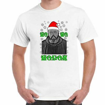 Mens Funny Printed T Shirts-Ho Ho Hodor-Christmas-Game of Thrones Inspired tee