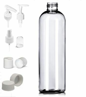 6 Pack Empty Clear 16 oz. PET Plastic Cosmo Round Bottles with Caps and Labels
