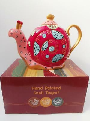 Snail Teapot Hand Painted Reds *collectible* Ceramic*