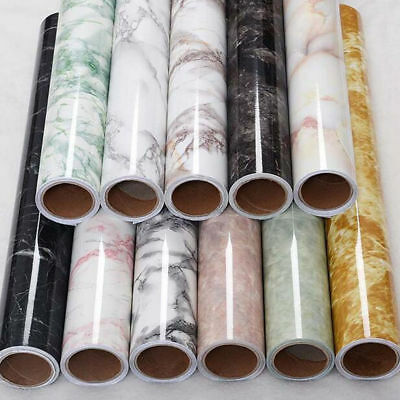 Home Marble Paper Self Adhesive Glossy Worktop Peel Stick PVC Stickers Decor New