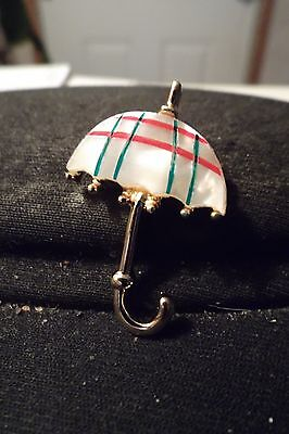 Vintage Faux Mother of Pearl  Umbrella Broach/pin