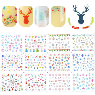 12 Patterns Christmas Nail Art Water Decals Snowflakes Deer Transfer Stickers