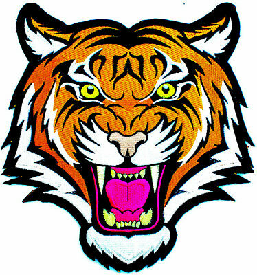 LARGE BENGAL ANGRY TIGER iron-on embroidered JACKET PATCH
