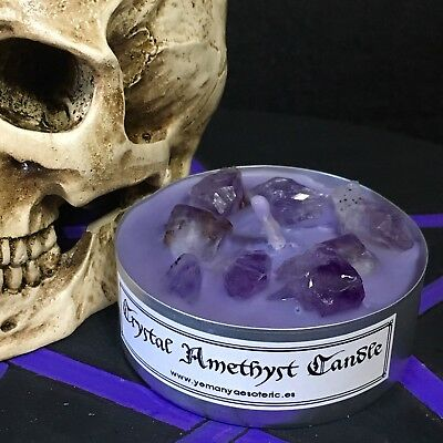 ☆ PURIFICATION - ENERGY ☆ CRYSTAL AMETHYST CANDLE WICCA RITUALIZED Ø 5 cm
