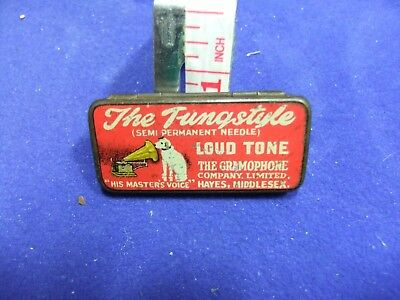 vtg needle tin tungstyle loud tone his masters voice needles gramophone record