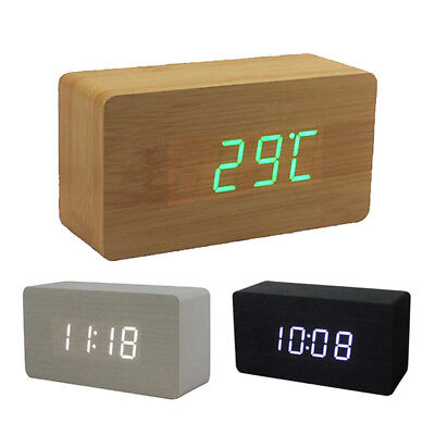 Digital LED Wooden Alarm Clock Displaying Time Date Temperature Home Decor