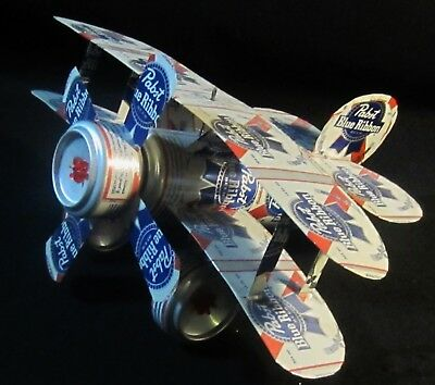 VINTAGE Pabst Blue Ribbon Beer Airplane Made from REAL Beer cans