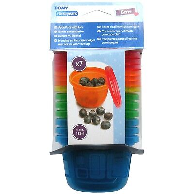 TOMY The First Years 7 Food Pots with Lids - 4.5 oz / 133 ml (BPA & PVC Free)