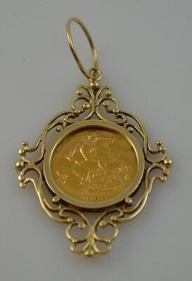 1906 King Edward VII Half Sovereign & 9ct Pendant Mount