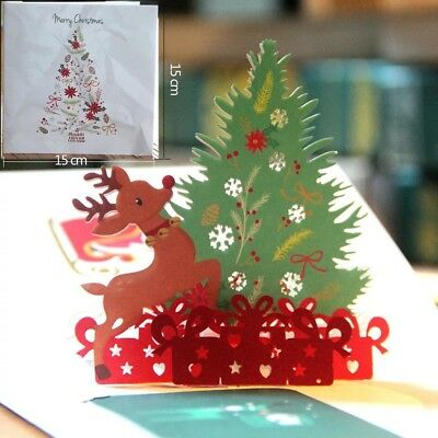 Handcrafted Origami 3D Greeting Christmas Card Pop Up Card Postcards Birthday UK