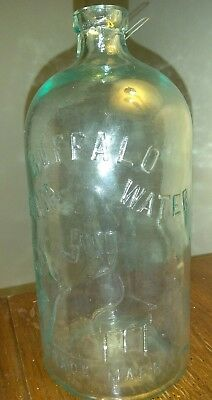 ANTIQUE Buffalo Lithia Springs Water GLASS Natures Materia Medica Tinted BOTTLE