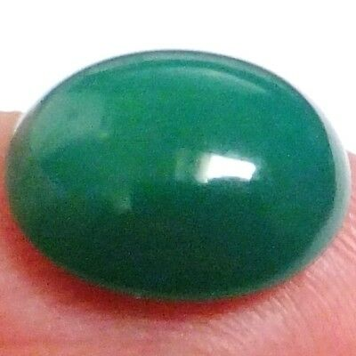 NATURAL ATTRACTIVE GREEN CHALCEDONY GEMSTONES (15.4 x 14.6 mm) OVAL CABOCHON