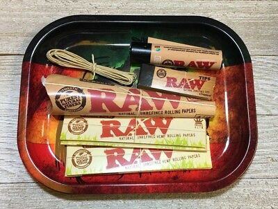 Raw Rolling Tray With Pre Rolled Cones & Hemp Rolling Papers With  5ft Hemp Wick