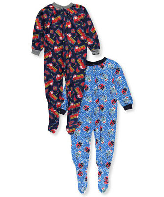Mon Petit Little Boys' 2-Pack 1-Piece Footed Pajamas (Sizes 4 - 7)