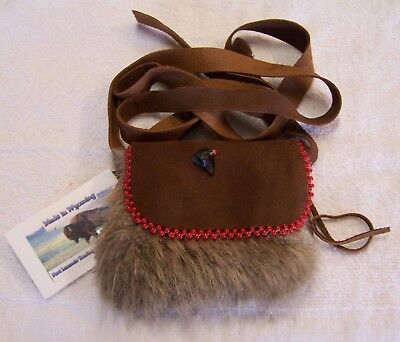 Hand Made Small Beaded Beaver Fur Pouch Rendezvous Black Powder Mountain Man 4